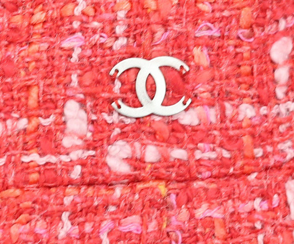 Chanel Red Coral Pink Cotton Rayon Skirt 5