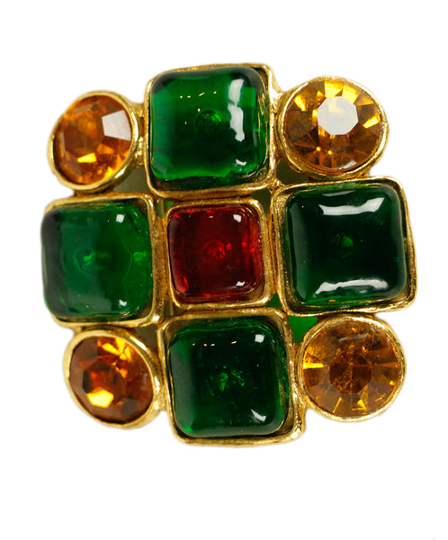 Chanel Gold Metal Yellow Stones Red Green Glass Pin