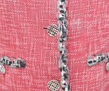 Chanel Red Grey Cotton Tweed Rayon Blazer Sz 6