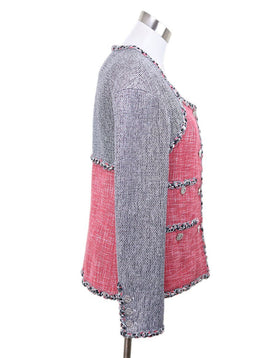 Chanel Red Grey Cotton Tweed Rayon Blazer 1