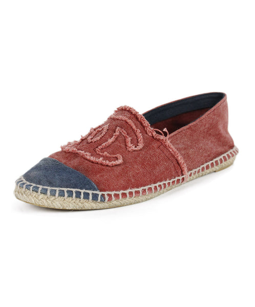 Chanel Red Navy Canvas Espadrilles Shoes Sz 39