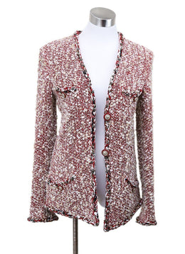 Chanel Red Beige Tweed Wool Star Chain Jacket