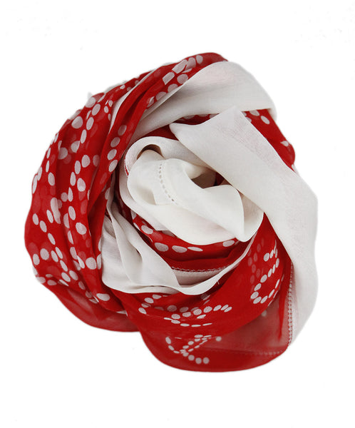 Chanel Red White Silk Scarf