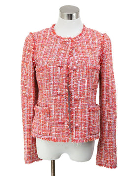 Chanel Red Coral Lilac Cotton Jacket 1