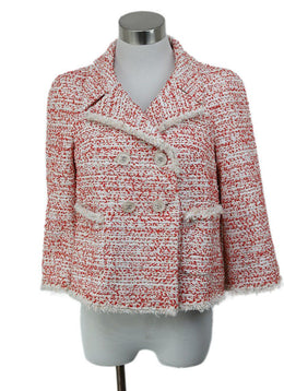 Chanel Red White Polyamide Nylon Tweed Jacket 1