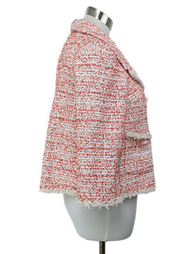 Chanel Red White Polyamide Nylon Tweed Jacket 2