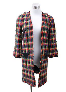 Chanel Red Blue Yellow Plaid Jacket sz 6