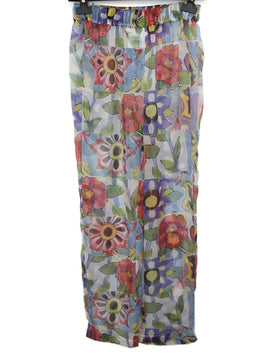 Chanel Sheer Multicolored Floral Print Pants 1