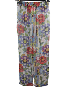 Chanel Sheer Multicolored Floral Print Pants 2