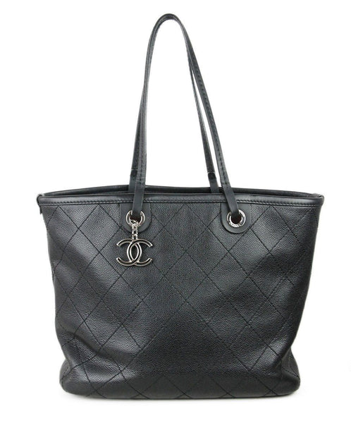 Chanel Black Grained Leather Tote Bag