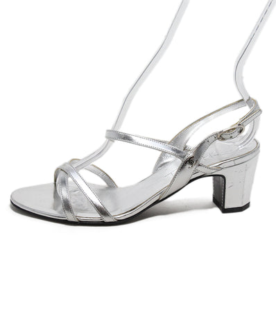 Chanel Silver Leather Sandals 1