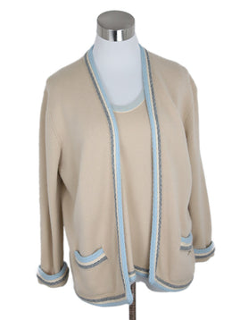 Chanel Beige and Blue Trim Cashmere Sweater 1