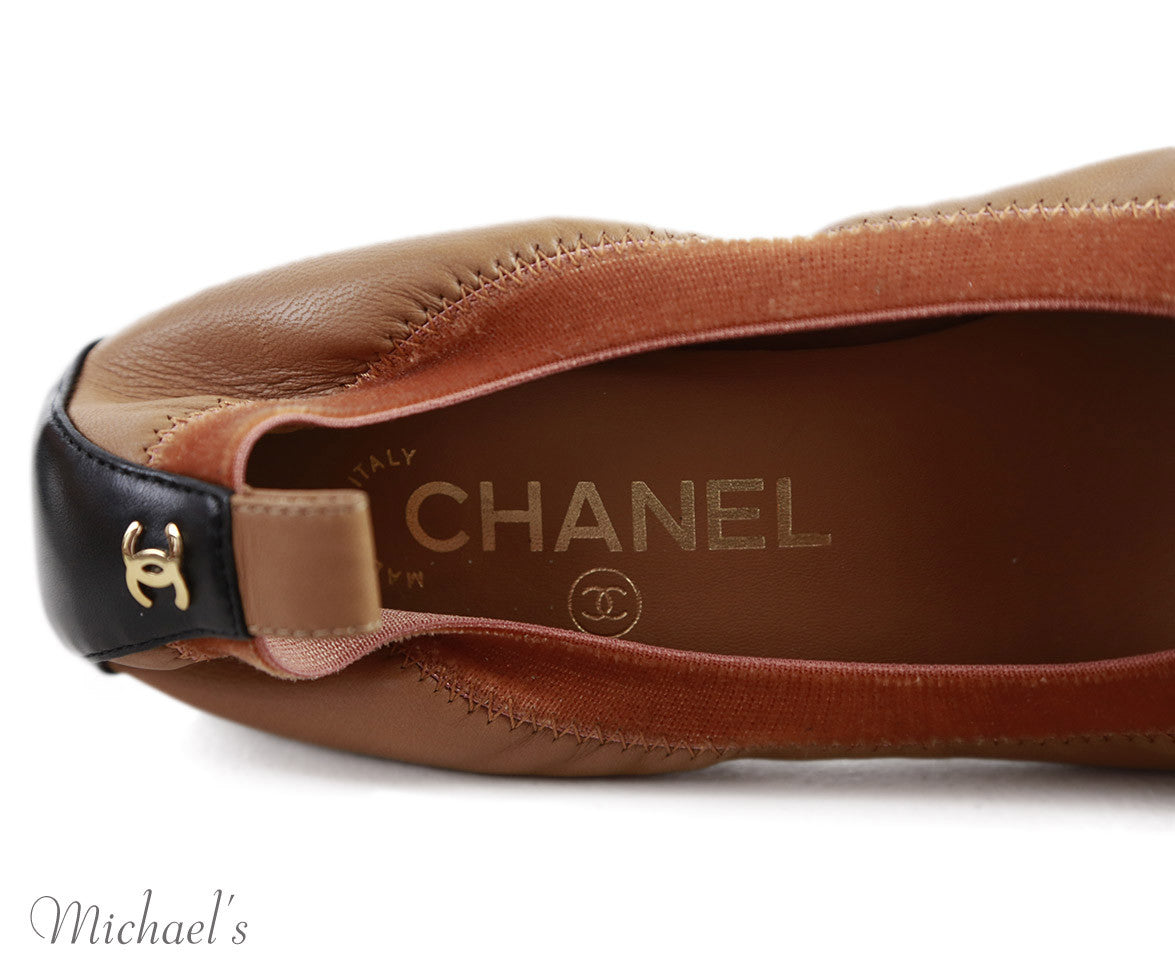 Chanel US 8 Tan Leather Black Flower Shoes