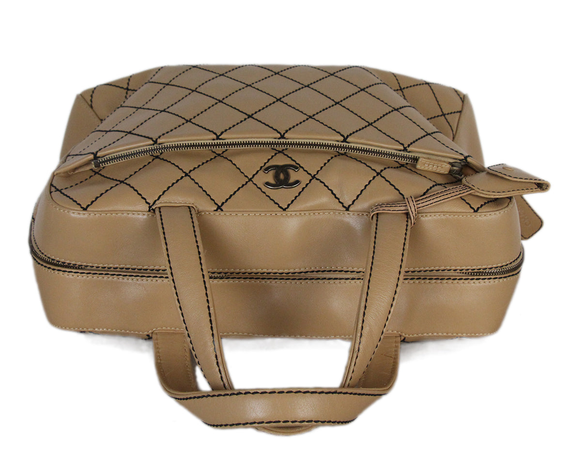 Chanel Tan Leather Travel Bag 5