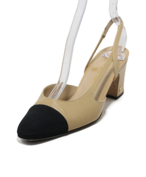 Chanel Tan Leather black cap heels 1