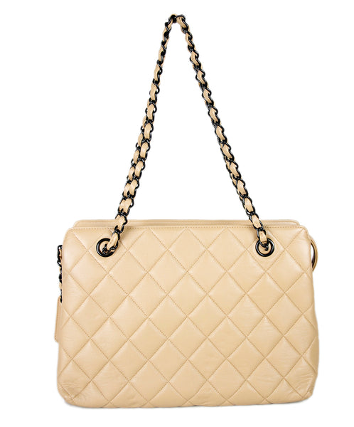 Chanel Tan Leather Quilted Handbag