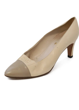Chanel Neutral Beige Taupe Leather Heels