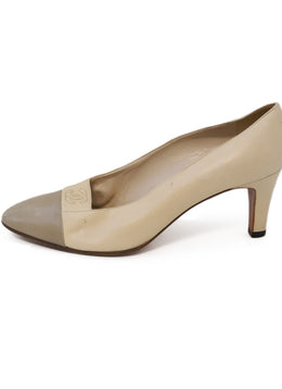 Chanel Neutral Beige Taupe Leather Heels 1