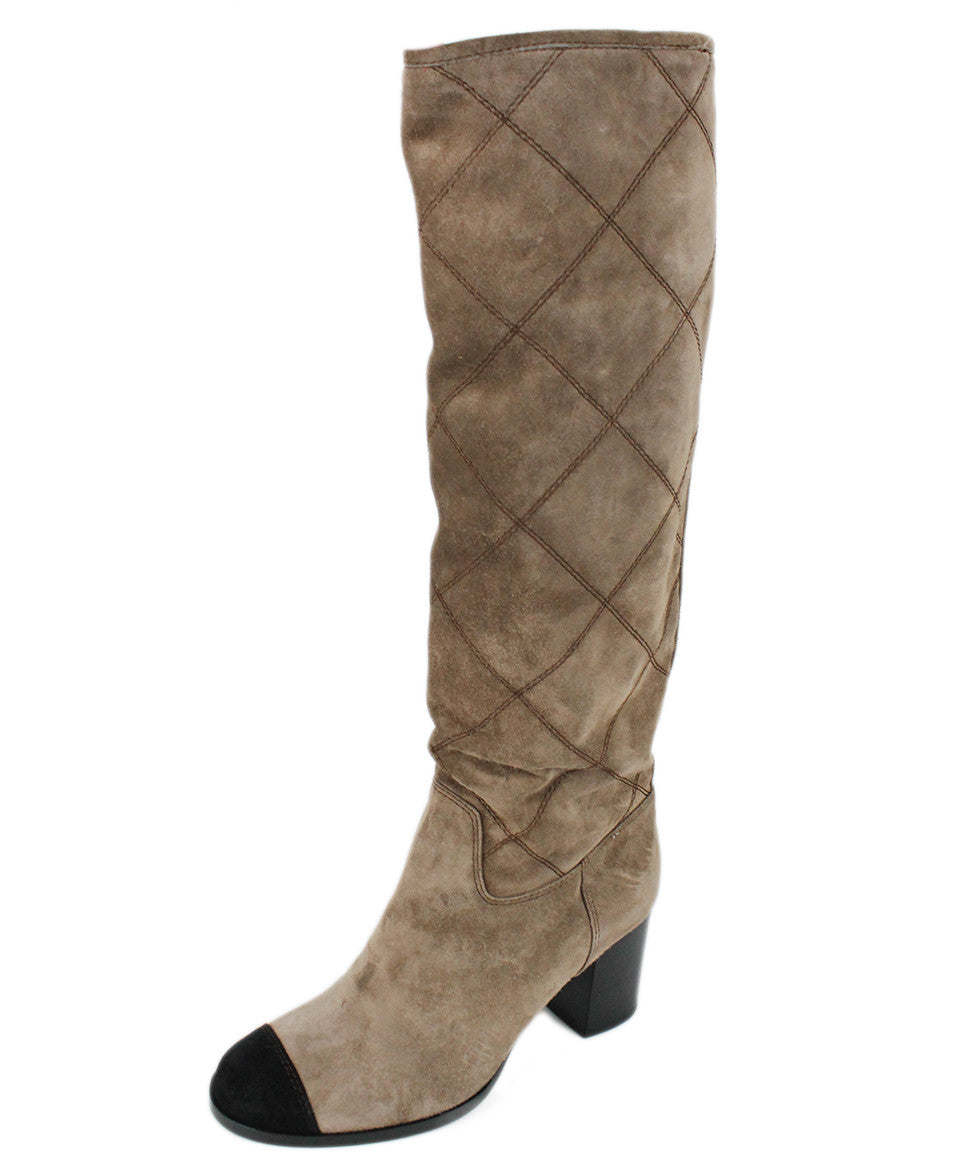 Chanel Taupe Suede Black Trim Boots Sz 37.5 - Michael's Consignment NYC  - 1