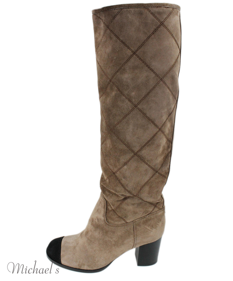 Chanel Taupe Suede Black Trim Boots Sz 37.5 - Michael's Consignment NYC  - 2