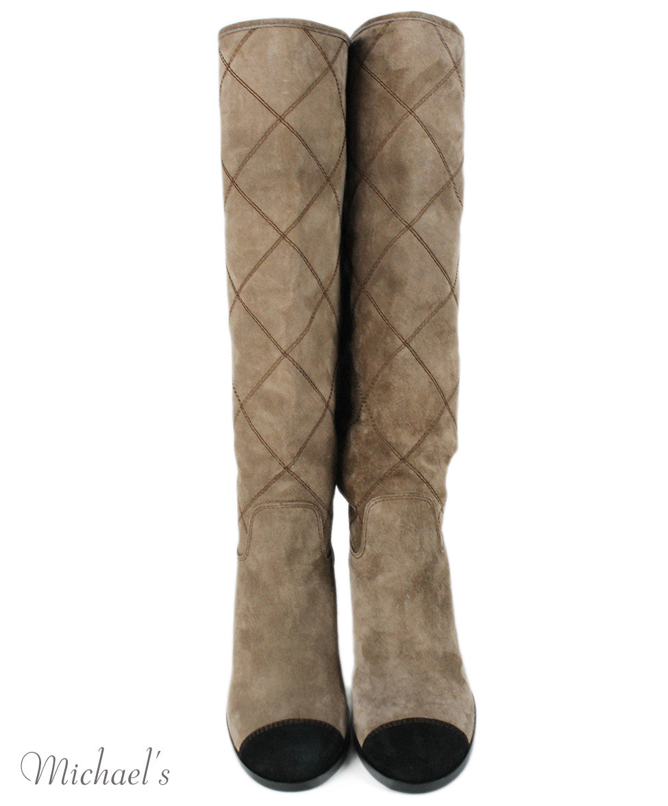 Chanel Taupe Suede Black Trim Boots Sz 37.5 - Michael's Consignment NYC  - 4