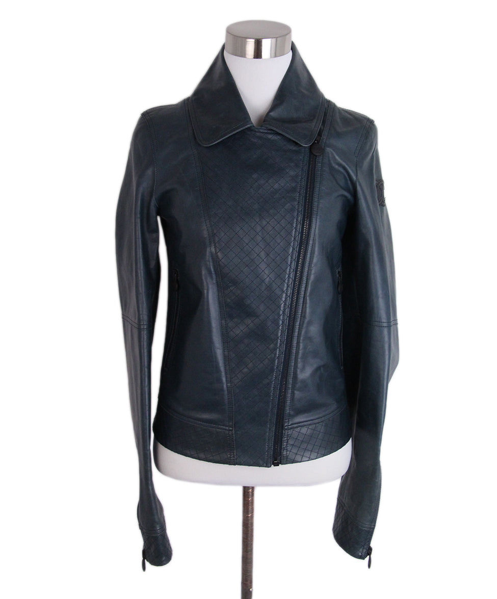 Chanel Teal Leather Jacket 1