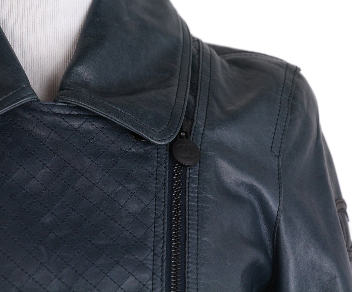 Chanel Teal Leather Jacket 7
