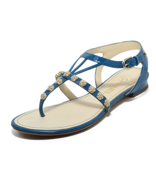 Chanel Teal Patent Leather Sandals 1
