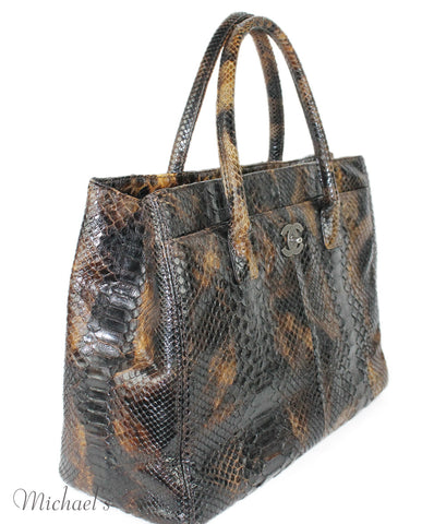 Chanel Tortoise Print Python With Pouch Bag - Michael's Consignment NYC  - 1