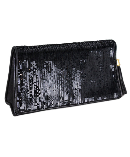 Chanel Vintage Black Leather Sequins Clutch 1