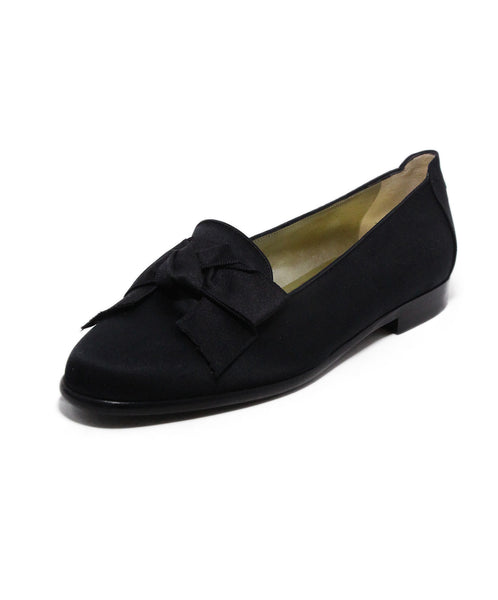Chanel Vintage Black Satin Bow Flats 1