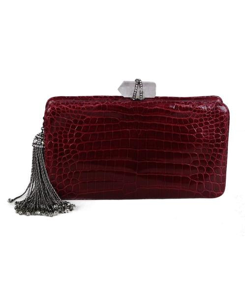 Marchesa Red Burgundy Crocodile Clutch 1
