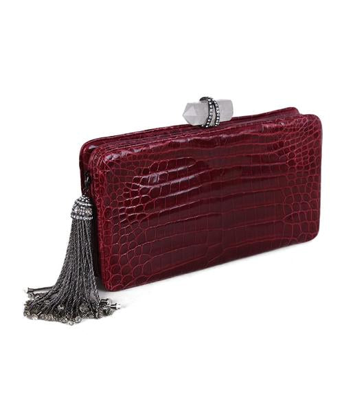 Marchesa Red Burgundy Crocodile Clutch 2