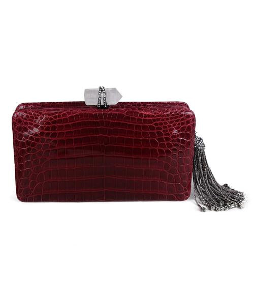 Marchesa Red Burgundy Crocodile Clutch 3