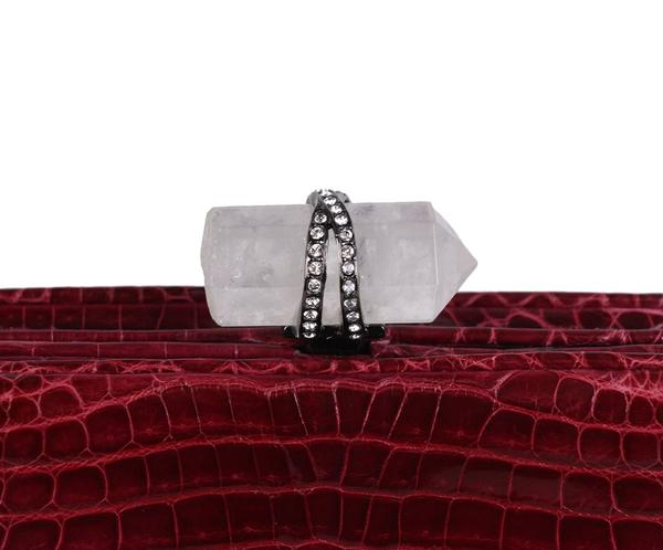 Marchesa Red Burgundy Crocodile Clutch 9