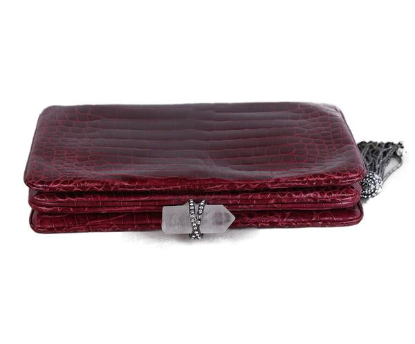 Marchesa Red Burgundy Crocodile Clutch 5