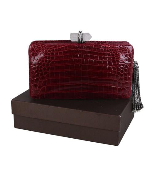 Marchesa Red Burgundy Crocodile Clutch 11