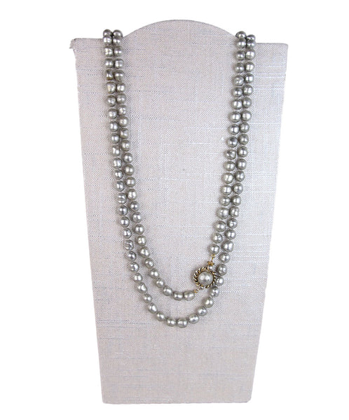 Chanel Vintage Grey Pearl Necklace 1