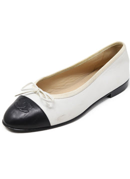 Chanel White Black Lambskin Leather Flats