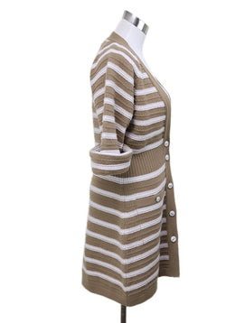 Chanel White Camel Stripes Cashmere Sweater 1