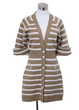 Chanel White Camel Stripes Cashmere Sweater