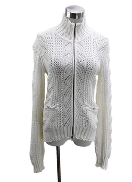 Chanel White Cotton Knit Sweater