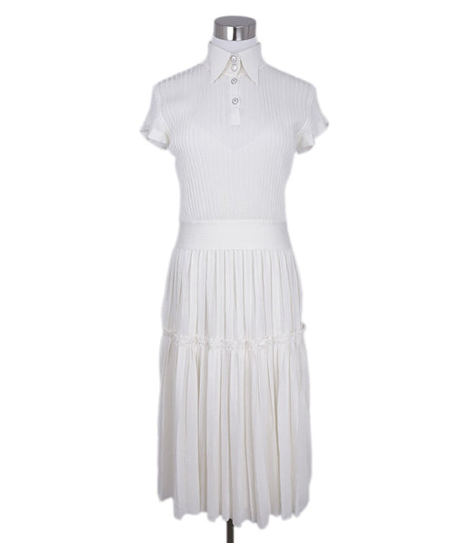 Chanel White Ivory Pleated Silk Collar With Slip Dress 1