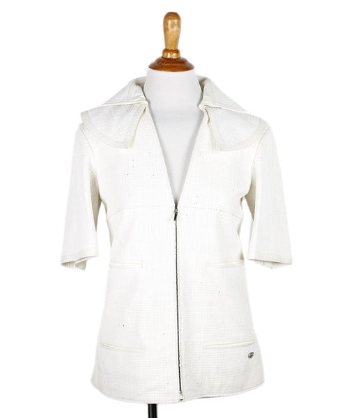 Chanel White Lambskin Perforated Jacket Sz 36