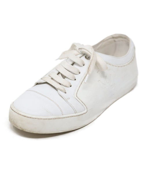 Chanel White Leather Sneakers Size 8.5