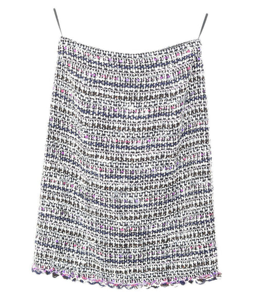 Chanel White Purple Navy Wool Skirt 1