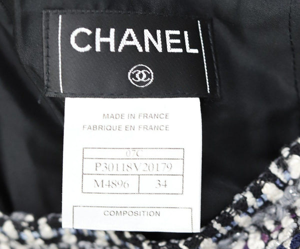 Chanel White Purple Navy Wool Skirt 3