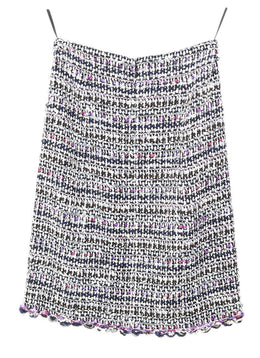 Chanel White Purple Navy Wool Skirt 2
