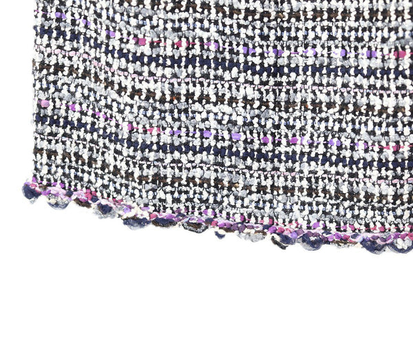 Chanel White Purple Navy Wool Skirt 5