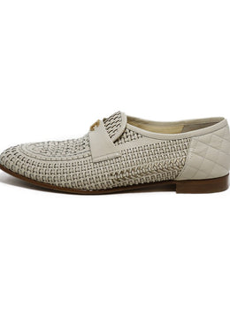 Chanel Cream Leather Woven Loafers 2